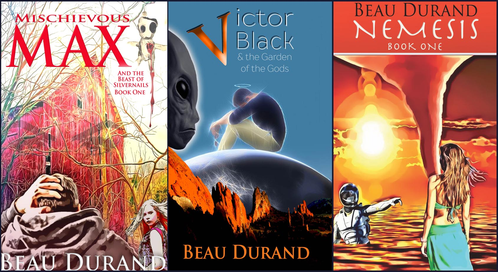 Victor Black, Nemesis, Mischievous Max - Novel Covers by Beau Durand - June 11, 2019